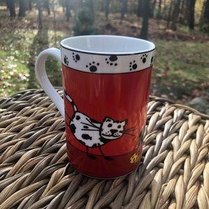 Pier 1 cat porcelain coffee mug red black 10 oz
